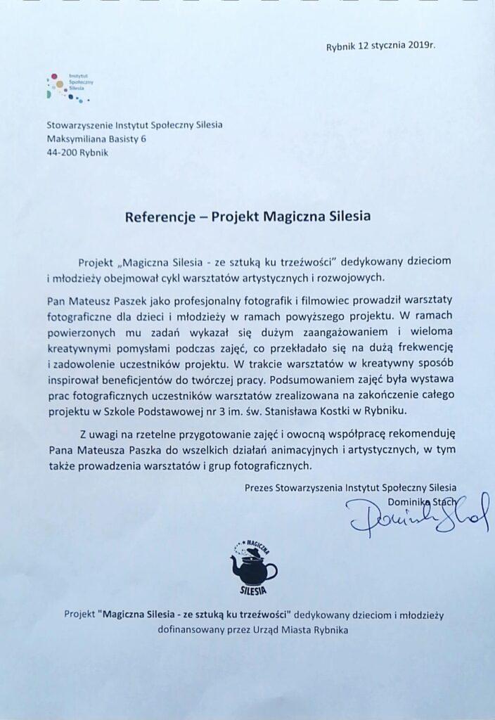 Referencje Magicznej Silesii powspółpracy zWizerunkuj.pl