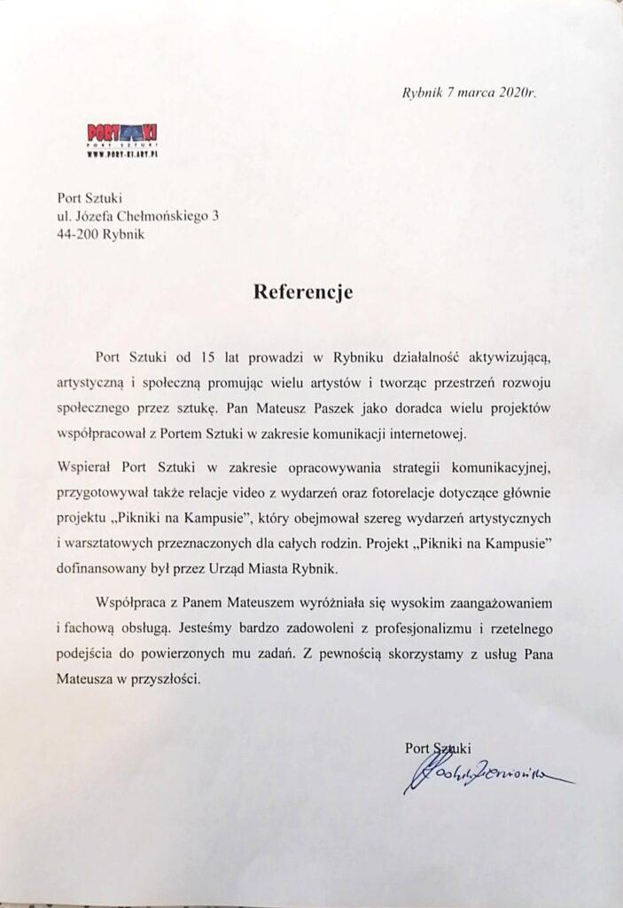 Referencje Portu Sztuki poowocnej współpracy zwizerunkuj.pl