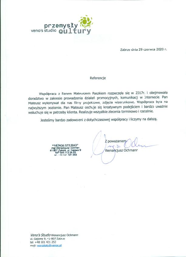 Referencje Venos Studio - Przemysły Qultury dla wizerunkuj.pl