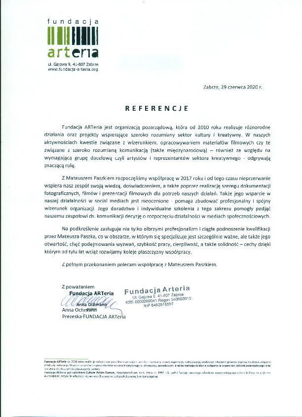 Referencje Fundacji ARTeria dla wizerunkuj.pl